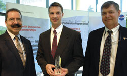 Glenn Rakow (center) received the 2007 Kerley Award. Pictured with AETD Director Orlando Figueroa (left) and NASA Chief Engineer Mike Ryschkewitsch (formerly GSFC Deputy Director).