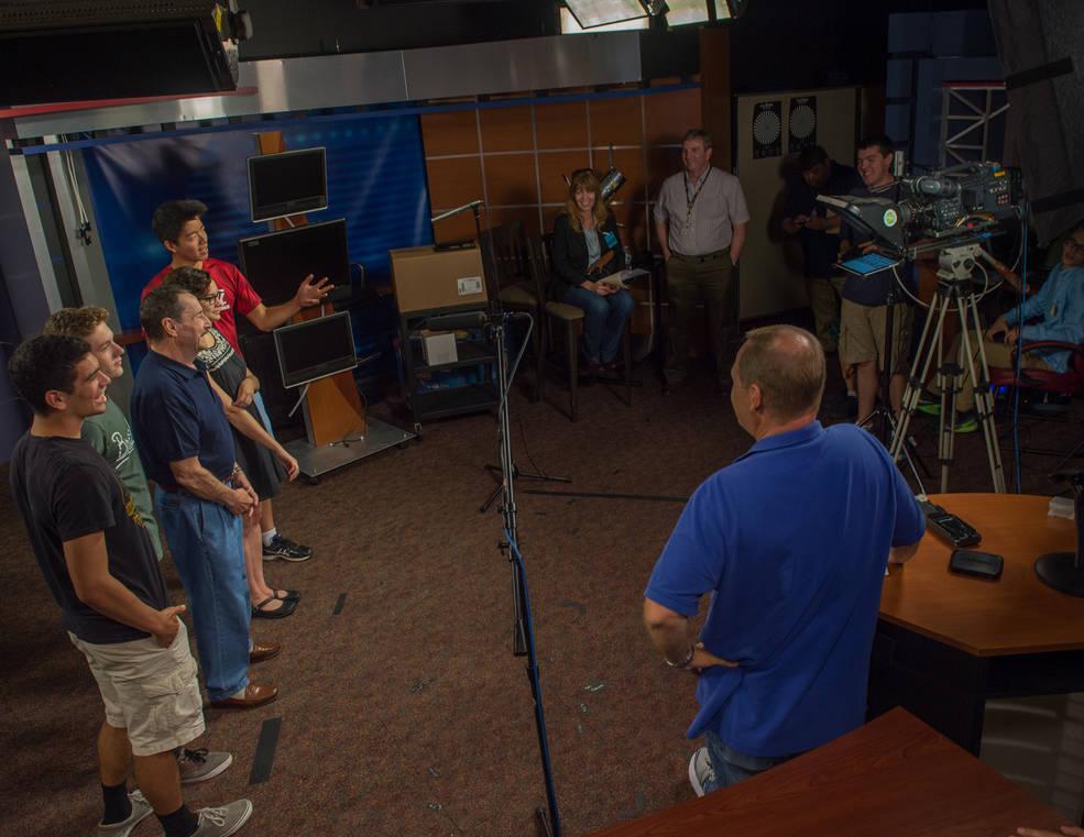 High school winners and Peter Cullen in the Goddard TV studio
