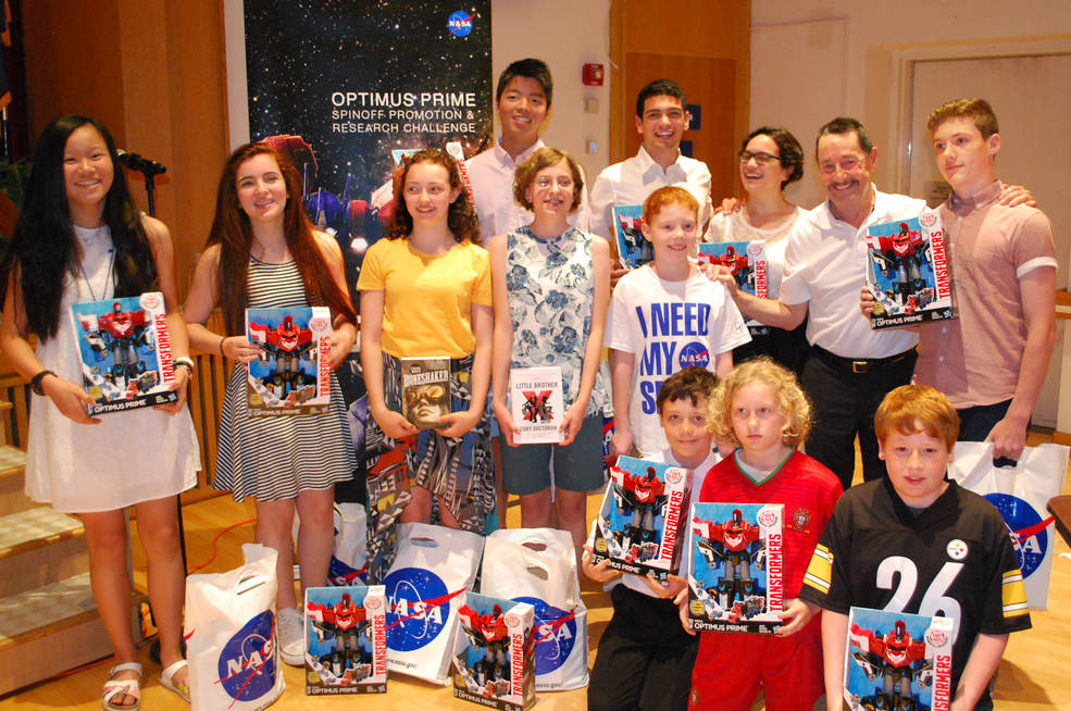 Student winners of OPTIMUS PRIME challenge pose with awards